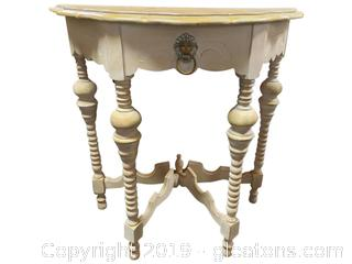 Vtg. Painted Half Moon Shaped Console Entry Table