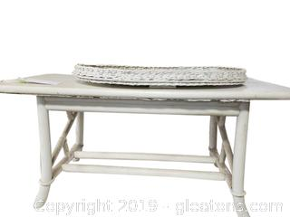 White Wooden Ratten Coffee Table And White Wicker Tray