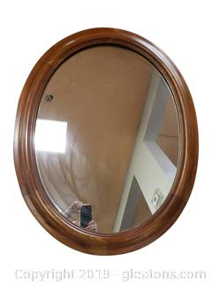 Large Wooden Oval Heavy Wall Mirror