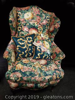 Vtg. Floral Wing Back Chair