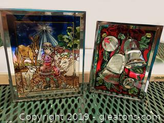 """""""Amia Studios"""" Christmas Hand Painted Frames Stained Glass In Wooden Case"""