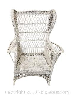 Wide Large White Wicker Rocking Chair With Side Magazine Rack