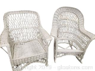 Set Of (2) Different Style White Wicker Chairs