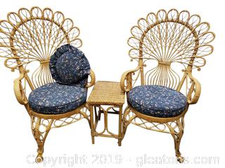 Vtg. Rattan-Wicker Chair Set And Small Side Table