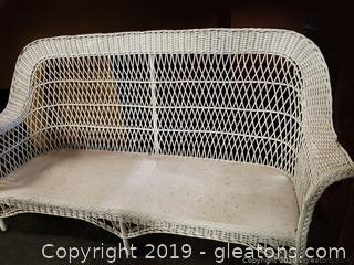 "Vtg. 75"" Wide White Wicker Sofa W/No Cushions"