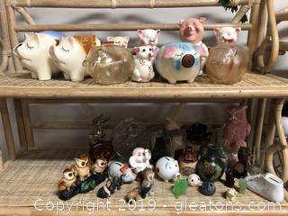 Big Lot Of Vintage Figurines And Piggy Banks