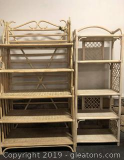 Nice Pair Of Wicker And Rattan Bakers Rack Tan With Shelving