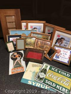 Box Lot Of Frames And Vintage Pictures With Metal Signs