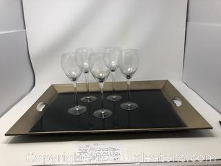 Nice Metal Serving Tray with 5 Crystal Wine Goblets