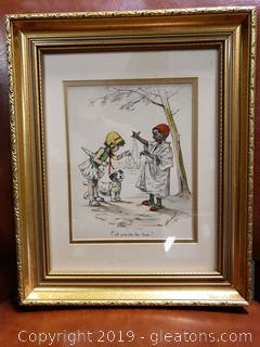 1929 French Signed Water Color/Stencil