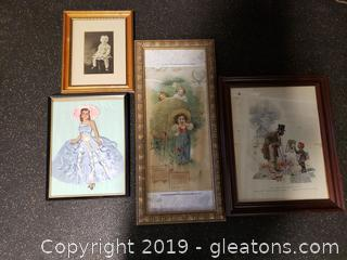 Lot of (4) Vtg. Unique Framed Art