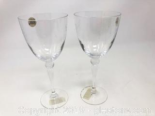 Pair of Cristal d'Arques Lead Crystal Goblets