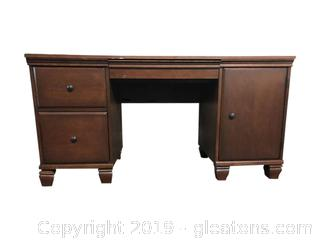 Oversized Vintage Solid Wood Secretary Desk
