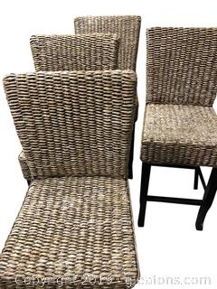 Four Nice Highboy Rattan And Wood Chairs