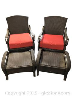 Pair Of Matching Outdoor Metal And Leather Chairs With Ottoman