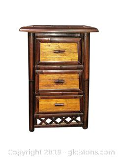 Wood And Rattan Side Table With Drawers