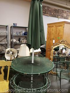 Heavy Round Vtg. (B) Wrought Iron Table And Chairs With Umbrella (4) Chairs