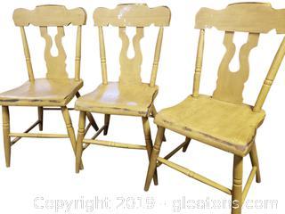 Primitive Set Of (3) Solid Wood Vintage Dinette Chairs