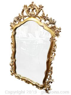 Large Vtg. Gold Wooden Wall Mirror