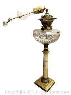 Antique French Oil Lamp Table Lamp