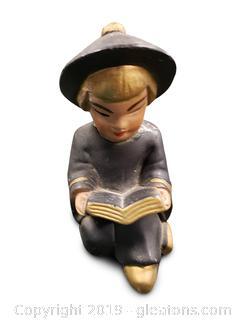 Vtg. Chinese Mini Figurine Reading Book Metal