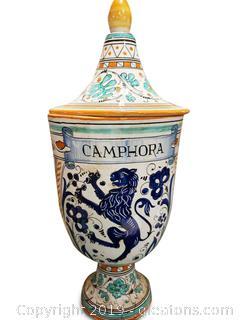 "Hand Painted Italian Jar Vase Ginger ""Comphora"""