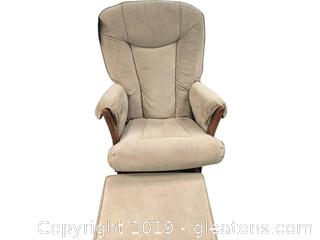 Malaysian Glider With Ottoman Solid Wood With Tan