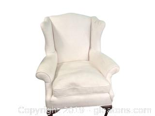 Nice White Wing Back Armchair Off White Woven Upholstry