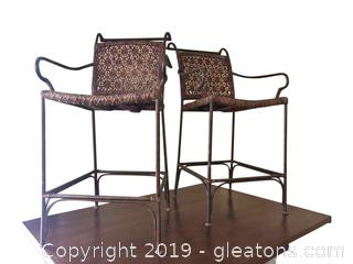 Pair Of Bar Stools Rattan + Wrought Iron