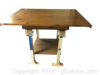 (A) Small Industrial Iron Table with Re-Purposed Wood Top