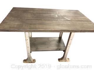 Weathered Gray Wood Work Table. Metal Legs.