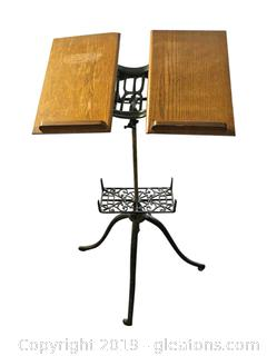 Vintage Adjustible Music Stand. Wrought Iron Base With Wooden Shelf For Music Rolls.