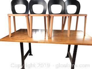 Large Oak-Colored Work Table. Wooden Metal Legs