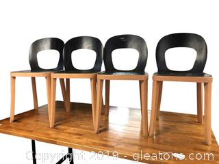 Set Of 4 Wooden Chairs Painted Black