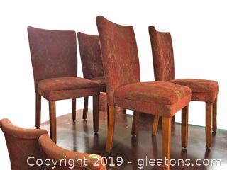 Set Of 6 Vintage Parson-Style Chairs Rusty-Orange Colored Patterned Velour Upholstry