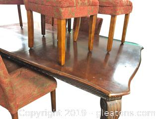 Ornate Vintage Dining Table With Claw Feet.