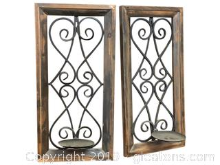Pair Of Candle Holder Wall Decor