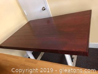 Small Cherry Colored Wooden Industrial Table.