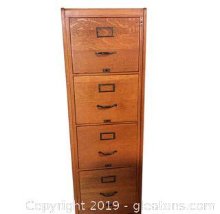 Vintage Wooden Filing Cabinet. No Key.
