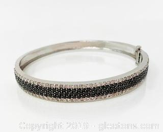 14k White Gold Bangle With Full Cut Diamonds Appraised