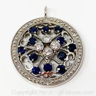 Stunning 14Kt White Gold Sapphire And Diamond Pendant  Appraised