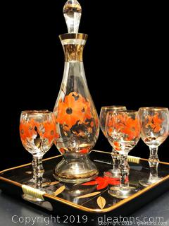Vintage Decanter And Wine Glasses