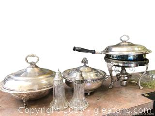Lot Of Silver plated Serving Bowls And Salt And Pepper Shakers