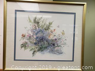 Signed And Water Color #'d Botantical Wall Art