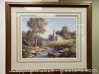 L.W. Dukes Signed Art Beautiful Church/Landscape