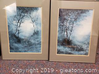 PR Of Metal Framed And Matted Landscape Wooden Forest Wall Art Prints