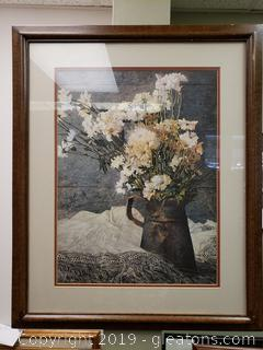 "Framed ""Daisies In Lace"" Vtg. Wall Art"
