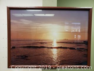 Vtg. Framed Photo Of Water Landscape