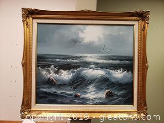 Beautifully Framed Oil Painting Water.Waves Landscape Wall Art