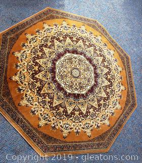 Very Nice Octagon Shaped Handmade Wool Area Rug